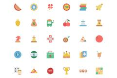 Flat Casino Vector Colored Icons Stock Illustration