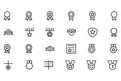 Award and Medal Icons - stock illustration