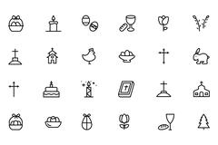 Easter Line Vector Icons Stock Illustration