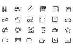 Cinema Line Icons Stock Illustration