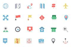 Flat Map and Navigation Vector Icons Set - stock illustration
