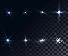 Light Glow Flare Stars Effect Set Stock Illustration