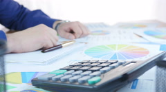 Businessman Working In Office And Calculate Profit - stock footage