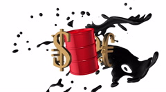 World golden currencies rotate around the red barrel of petroleum Stock Footage