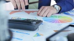 Businessman Working In Office And Calculate Profit Stock Footage
