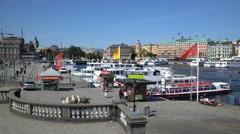 Many boats on the waterfront in the Old Town in Stockholm. Stock Footage