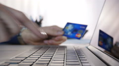 Businessman Online Shopping Using Credit Card Stock Footage