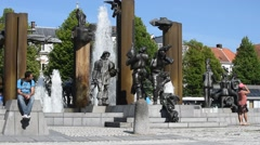 Sculpture group with fountainat the square Het Zand in Bruges, Flanders, Belgium Stock Footage