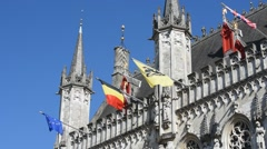 Bruges City Hall and old civil registrar at the Burg, Flanders, Belgium Stock Footage
