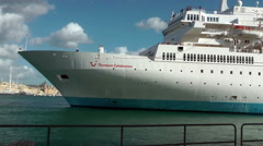 Thompson Celebration cruise ship getting out from port of La Valletta Stock Footage