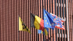 Flags in front of the concert hall at the square Het Zand in Bruges, Belgium Stock Footage