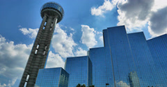 Reunion Tower and hotel in Dallas Stock Footage