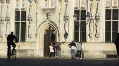 Decorated facade of the Bruges City Hall, Brugge, Belgium Stock Footage