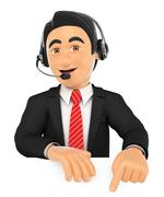 3D Call center employee pointing down. Blank space Stock Illustration