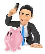 3D Businessman breaking a piggy bank. Spend savings - stock illustration