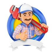 3D Logo. Plumber with pipe wrench Stock Illustration