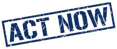 Act now blue grunge square vintage rubber stamp Stock Illustration