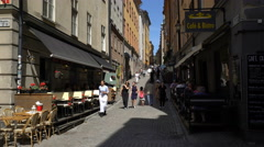 Narrow streets in the old town (Gamla Stan) in Stockholm. - stock footage