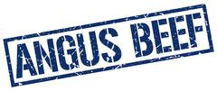 angus beef blue grunge square vintage rubber stamp - stock illustration