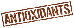 Antioxidants brown grunge square vintage rubber stamp Stock Illustration