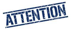 Attention blue grunge square vintage rubber stamp Stock Illustration