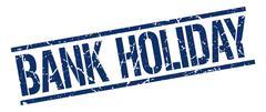 bank holiday blue grunge square vintage rubber stamp - stock illustration