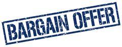 Bargain offer blue grunge square vintage rubber stamp Stock Illustration