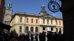 Facade of the Nobel Museum in the old town (Galma Stan) in Stockholm. Time Lapse Stock Footage