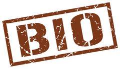 Bio brown grunge square vintage rubber stamp Stock Illustration
