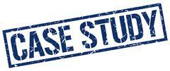 case study blue grunge square vintage rubber stamp - stock illustration