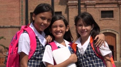 Smiling School Girls Showing Peace Symbol Stock Footage