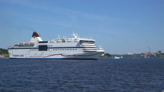 "Sea ferry ""Viking Line"" maneuvering and moored in the port of Stockholm. - stock footage"