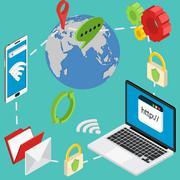Web isometric online safety data protection secure connection Stock Illustration
