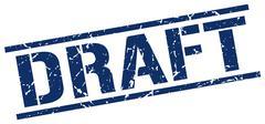 draft blue grunge square vintage rubber stamp - stock illustration
