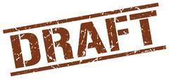 draft brown grunge square vintage rubber stamp - stock illustration