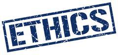 ethics blue grunge square vintage rubber stamp - stock illustration