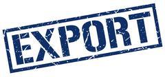 Export blue grunge square vintage rubber stamp Stock Illustration