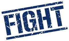 fight blue grunge square vintage rubber stamp - stock illustration
