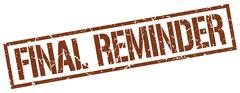 Final reminder brown grunge square vintage rubber stamp Stock Illustration