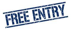 Free entry blue grunge square vintage rubber stamp Stock Illustration