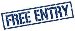free entry blue grunge square vintage rubber stamp - stock illustration