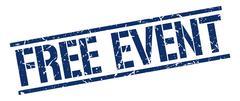 free event blue grunge square vintage rubber stamp - stock illustration