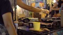 Cooking Black Charcosl Burgers. Asian Market. Night Fair Street. Thailand. Sumer Stock Footage