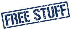 Free stuff blue grunge square vintage rubber stamp Stock Illustration