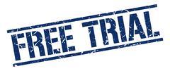 free trial blue grunge square vintage rubber stamp - stock illustration