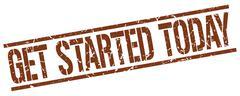 Get started today brown grunge square vintage rubber stamp Stock Illustration