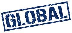Global blue grunge square vintage rubber stamp Stock Illustration