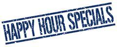Happy hour specials blue grunge square vintage rubber stamp Stock Illustration