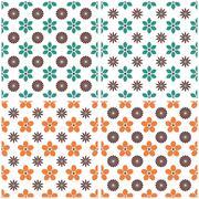 Set of floral seamless background, vector illustration. Stock Illustration