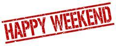 happy weekend red grunge square vintage rubber stamp - stock illustration
